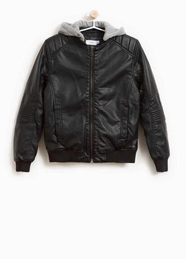 Leather look jacket with hood | OVS