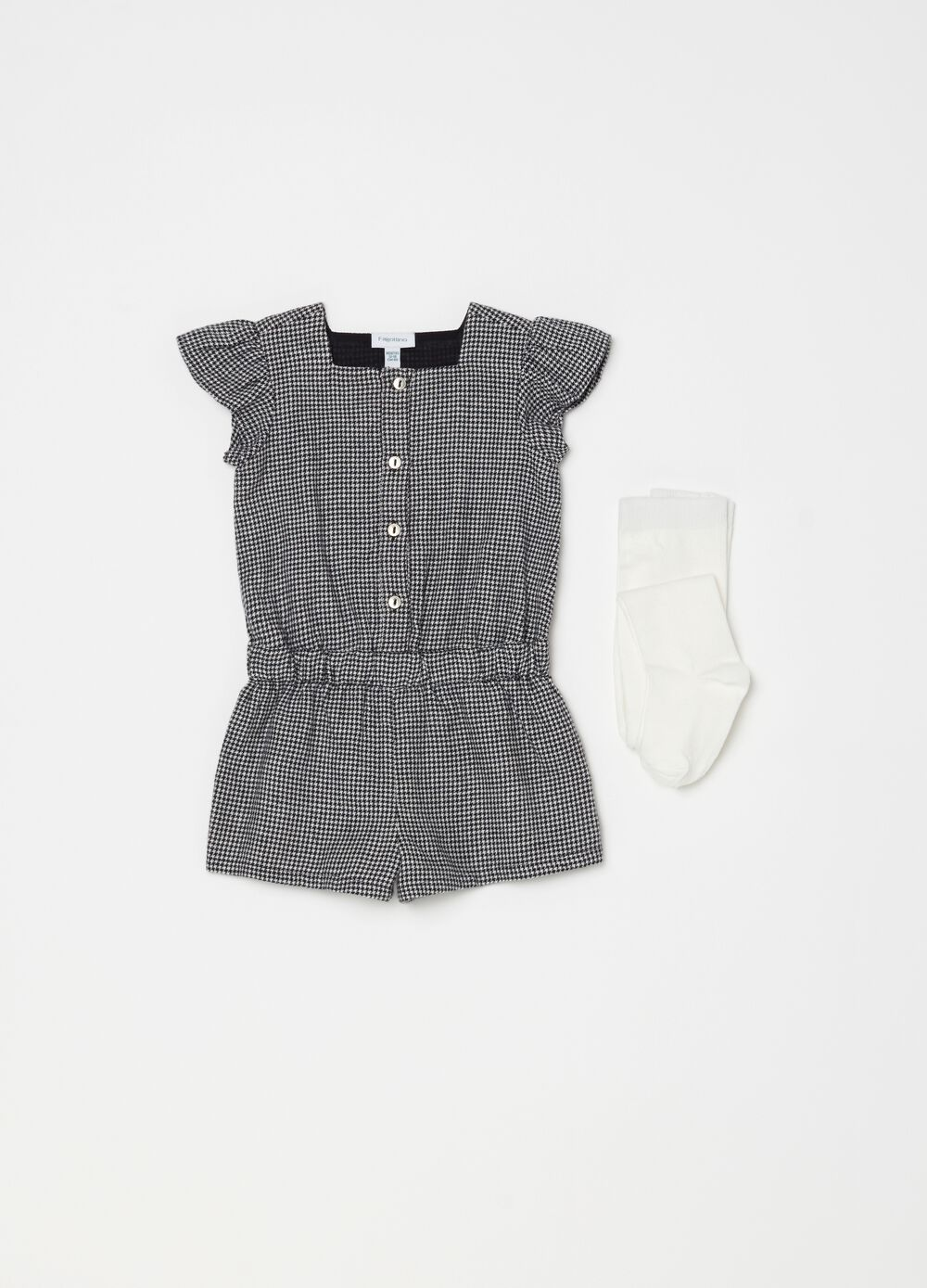 Set with houndstooth onesie and long socks