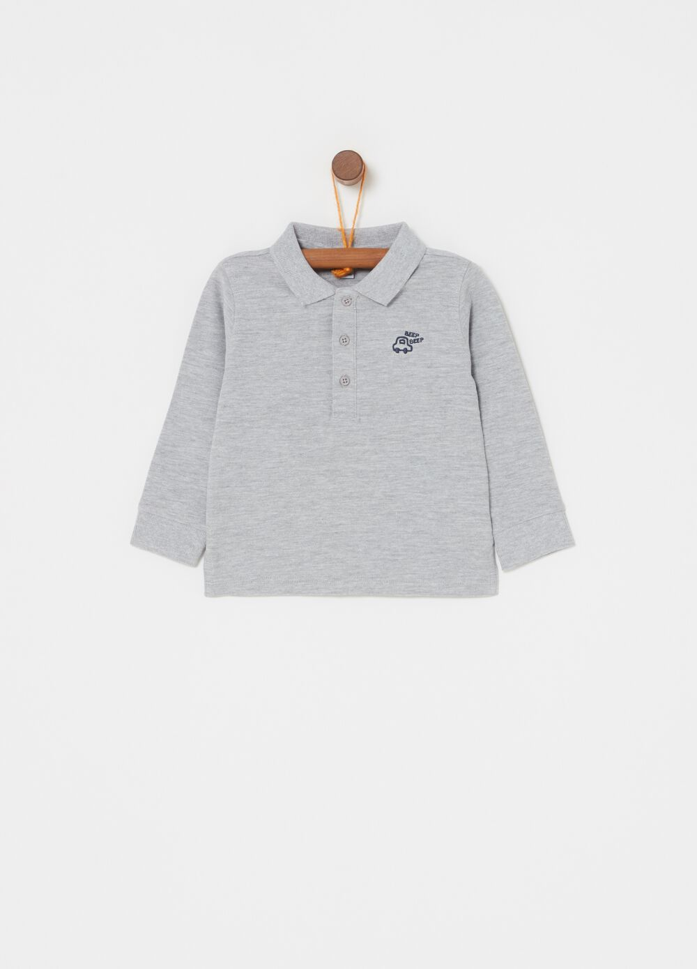 Mélange polo shirt with long sleeves and embroidery
