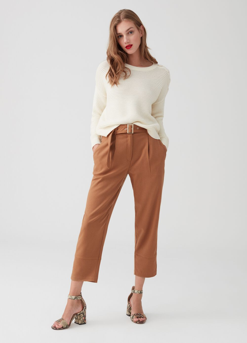 Twill cargo trousers with belt and buckle