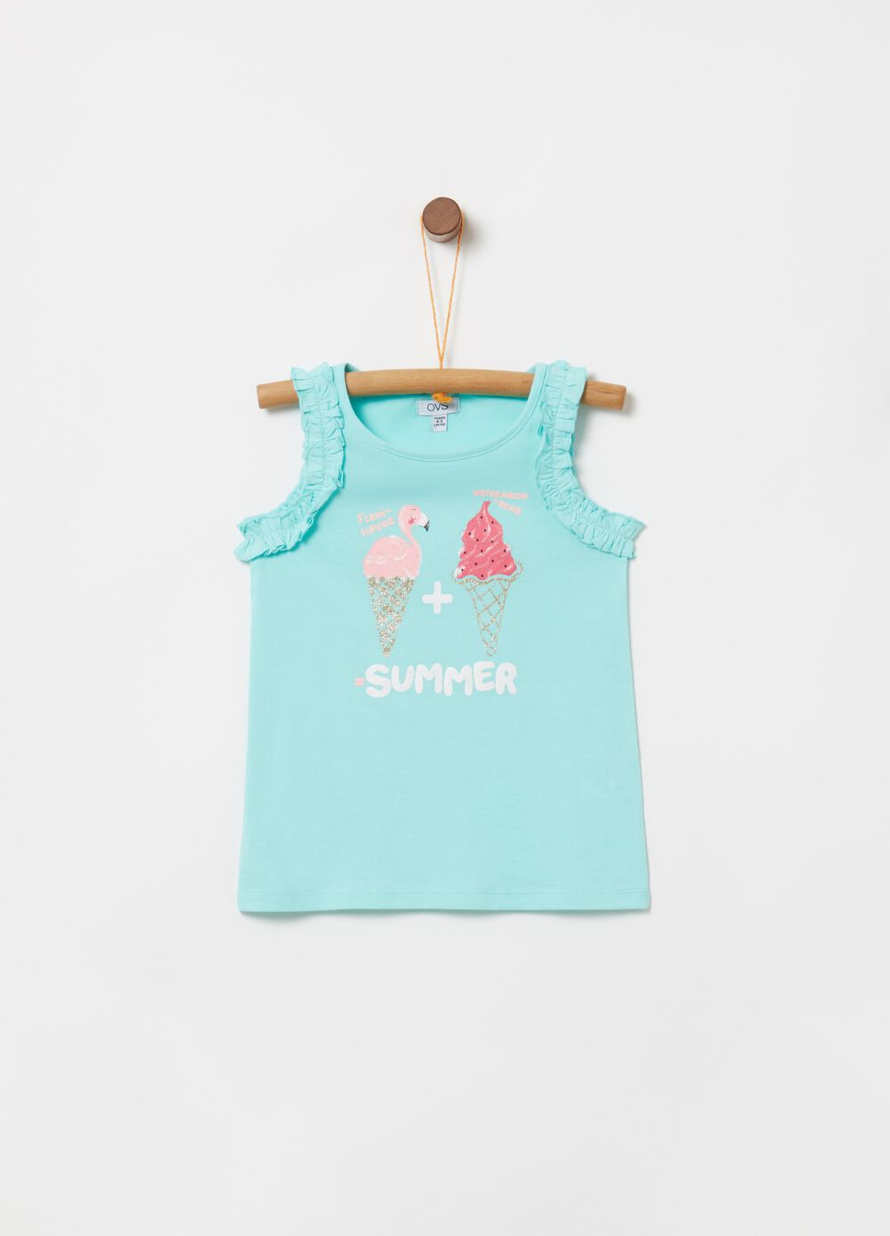 100% cotton tank top with glitter print