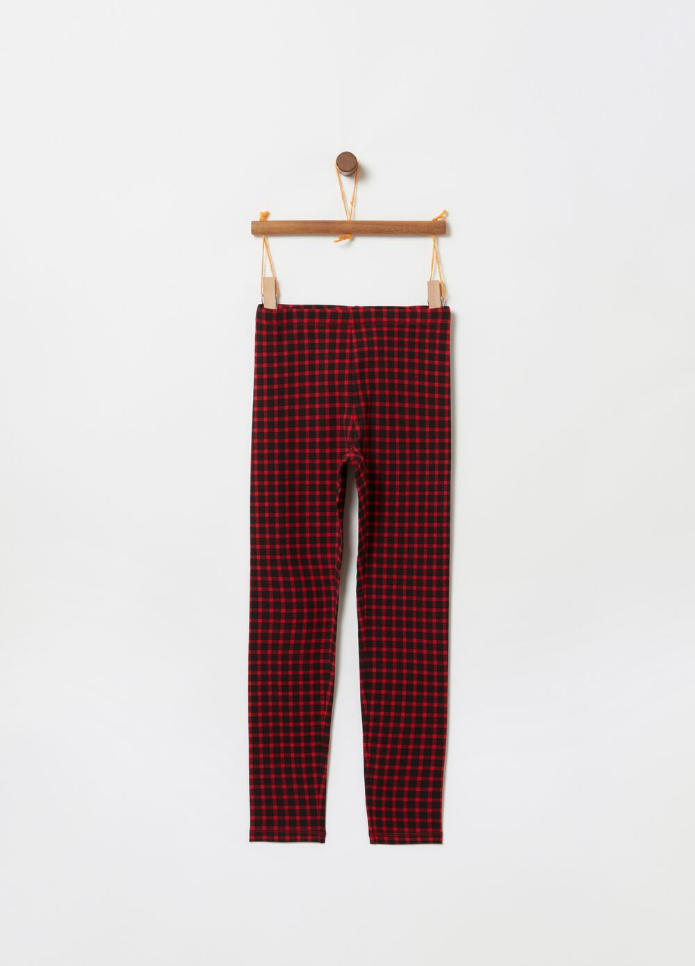 Stretch cotton check leggings