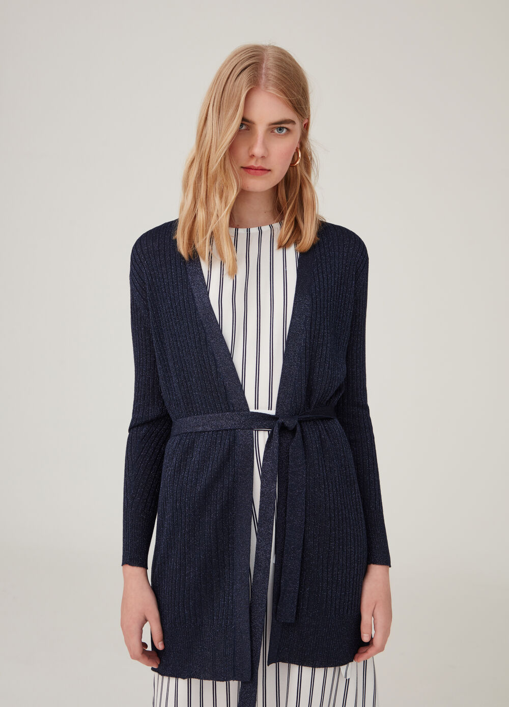 Lurex and viscose blend cardigan with belt