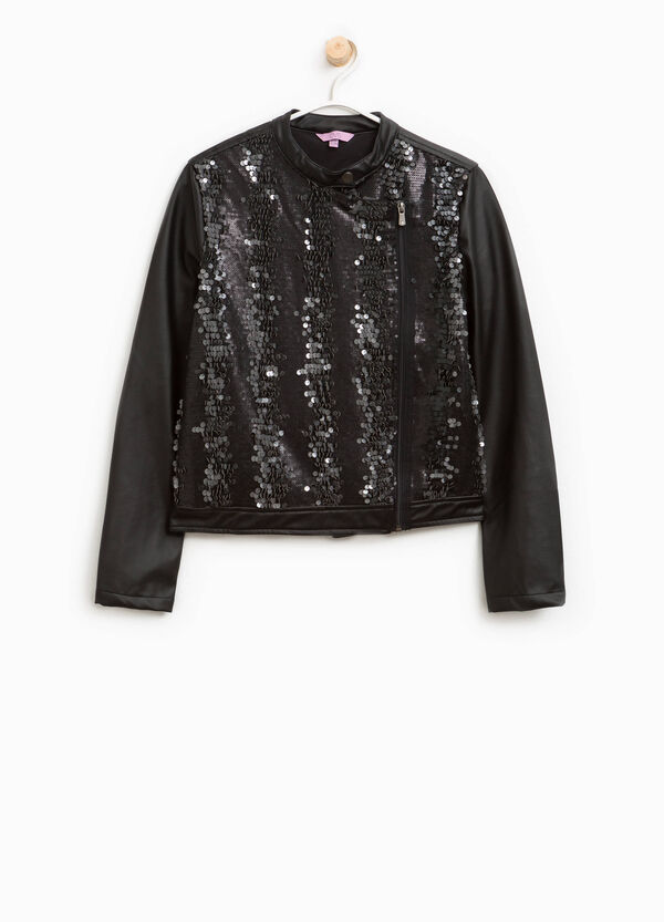 Leather look jacket with sequins