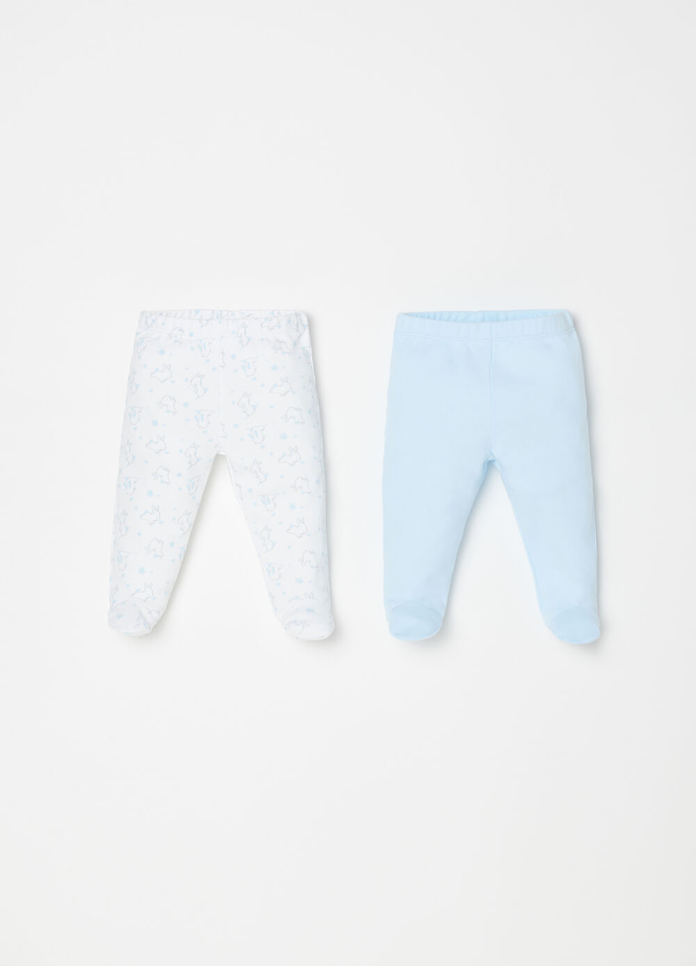 Two-pack leggings with feet and pattern
