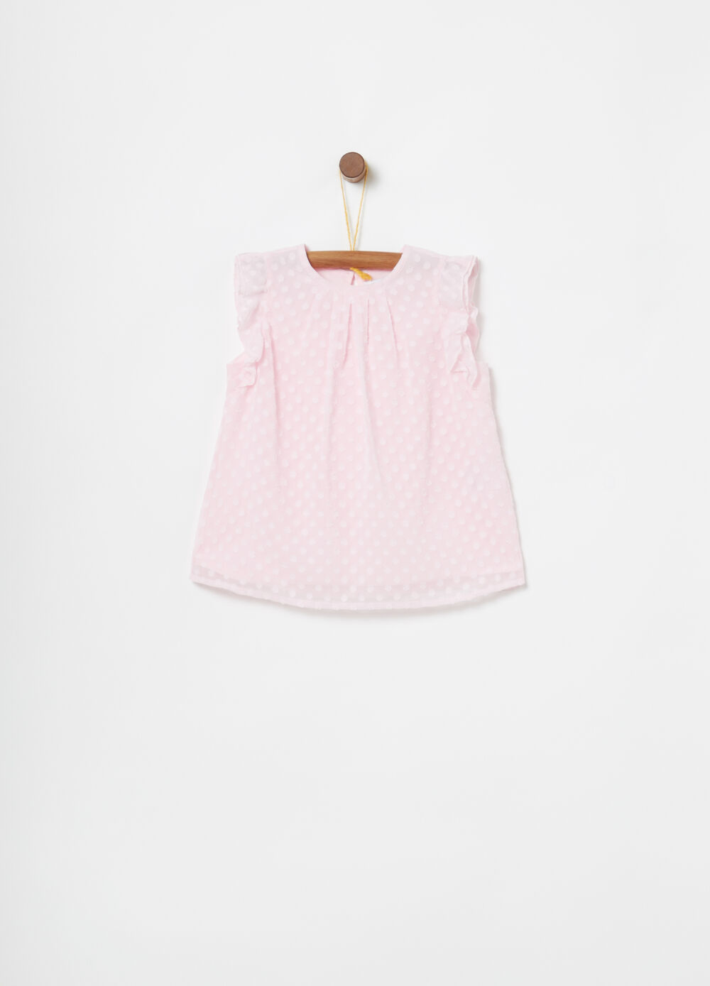 Shirt with frills and polka dots