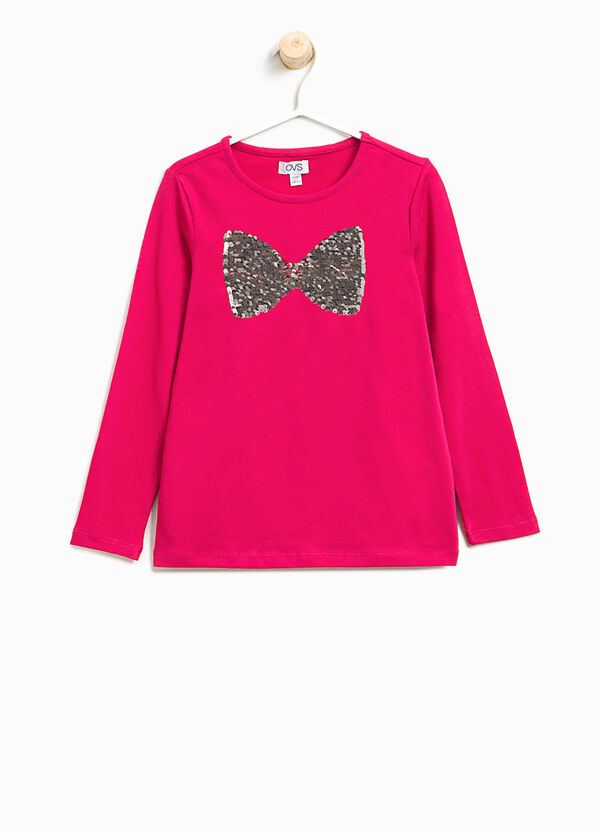 Stretch T-shirt with bow sequins   OVS