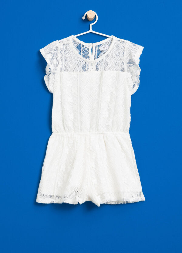 Pinafore in viscose and cotton lace | OVS