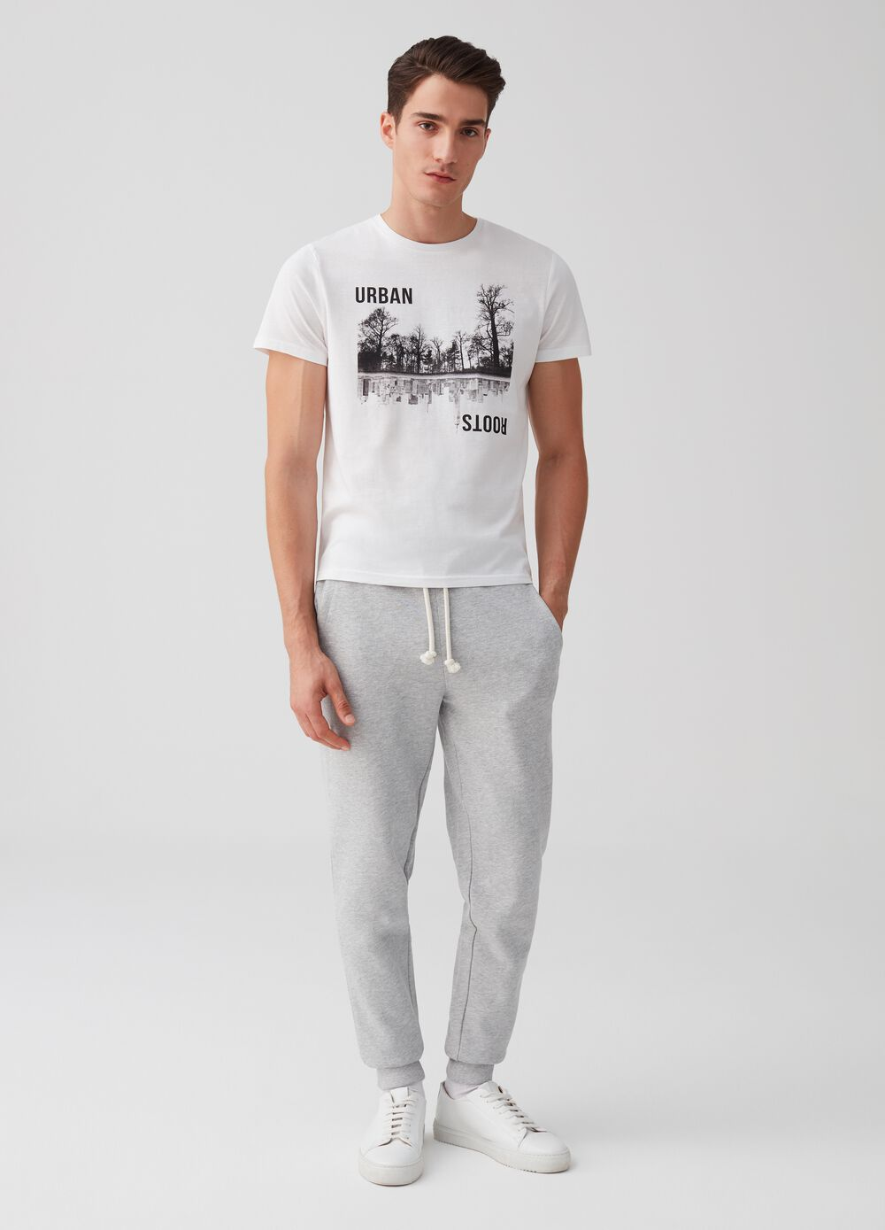 Mélange jogger trousers with drawstring