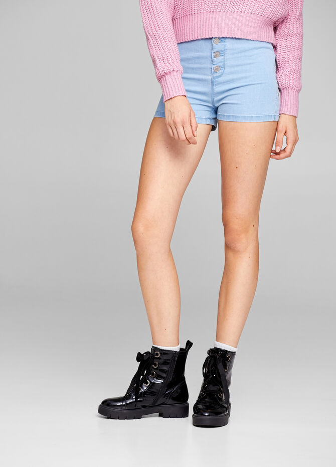 Solid colour supersoft denim shorts