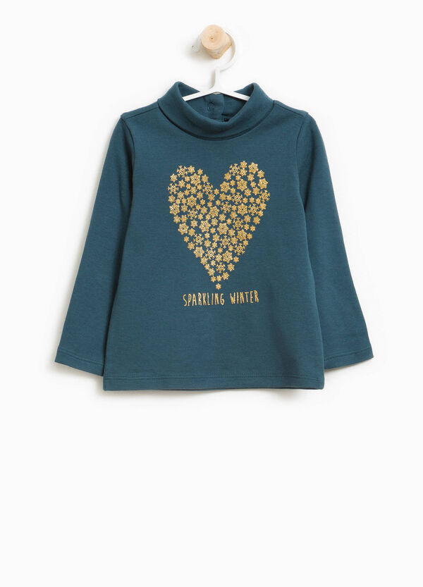 Turtleneck jumper in cotton with glitter print | OVS
