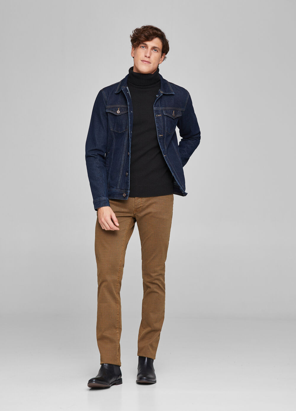 Slim-fit trousers with micro pattern
