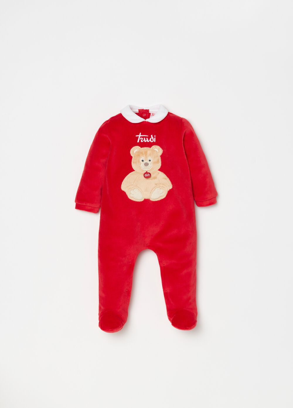 Onesie with feet and Trudi bear embroidery