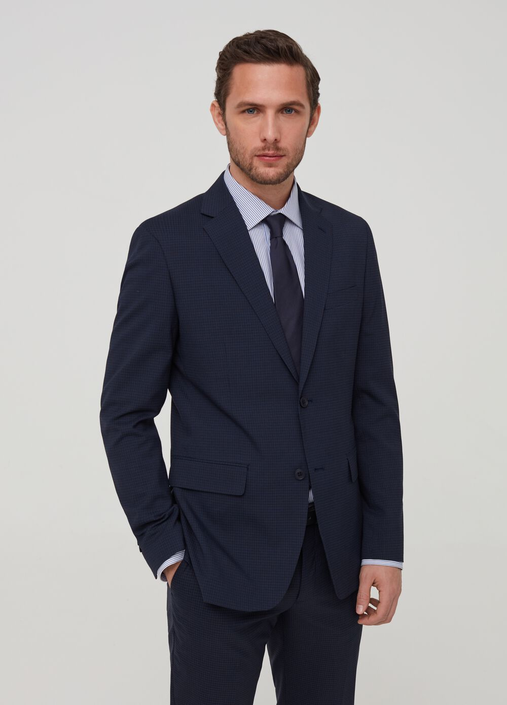 Blazer slim fit micro quadri