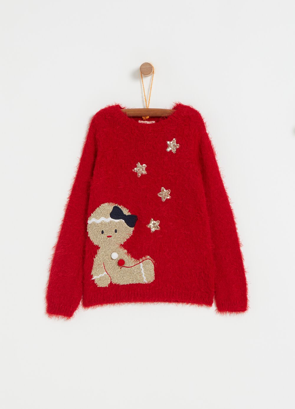 Knitted top with puppet and sequins