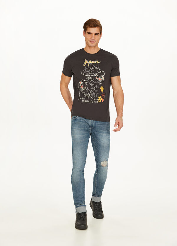 Cotton blend T-shirt with dragon print