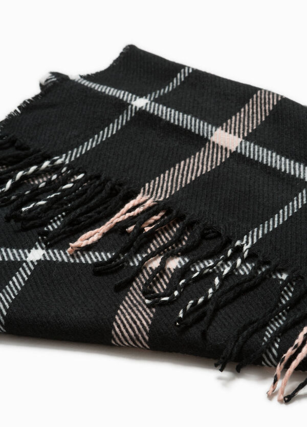 Check scarf with long fringing | OVS