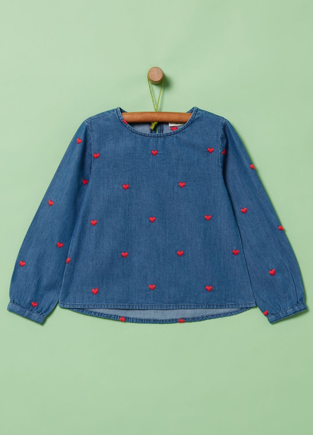 Denim blouse with hearts embroidery