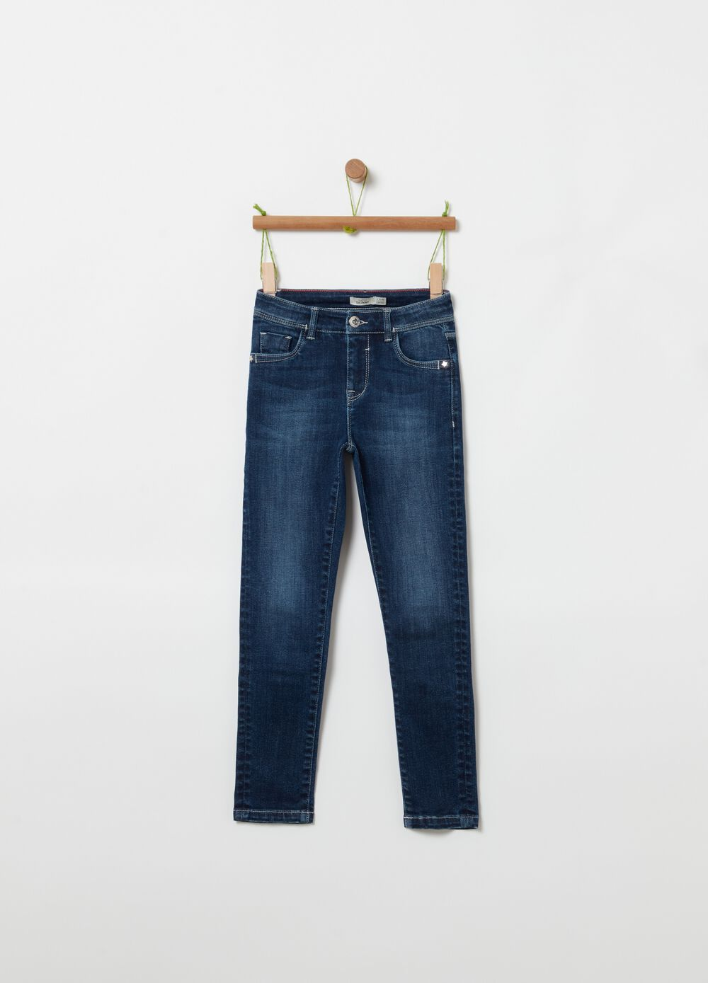 Misdyed-effect stretch jeans