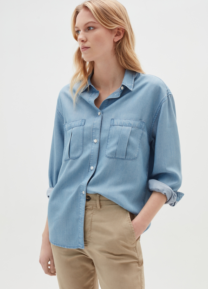 100% Lyocell denim shirt image number null