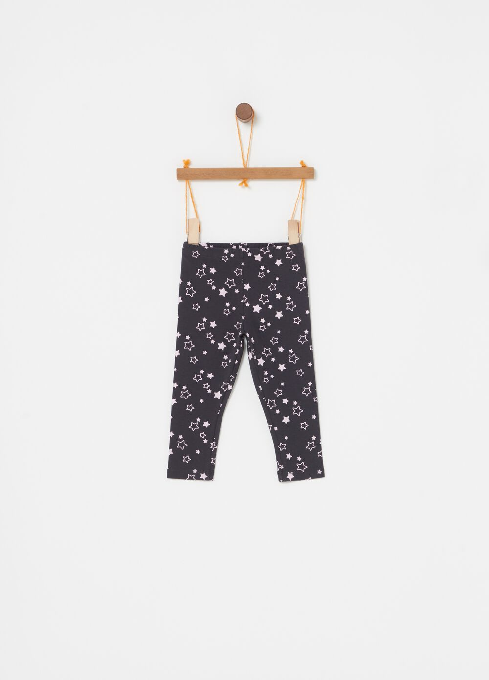 Stretch biocotton leggings with stars print