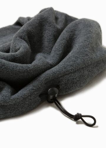 Fleece neck warmer with drawstring