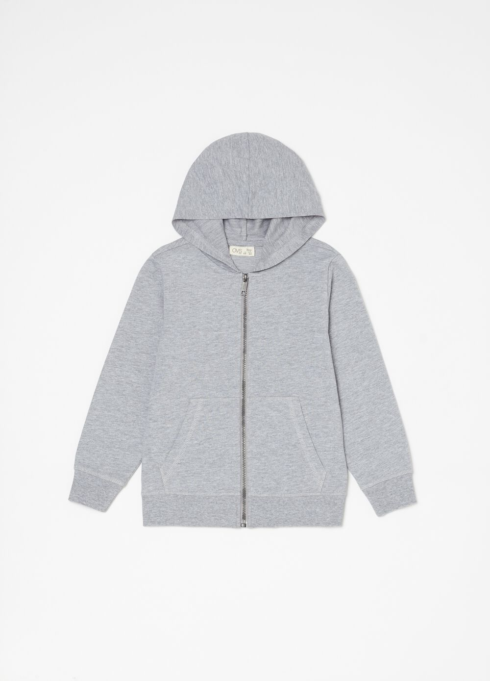 Organic cotton sweatshirt with hood and zip
