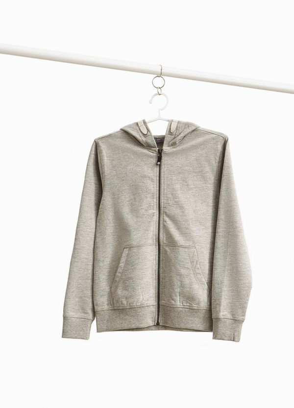 Cotton and viscose sweatshirt with zip