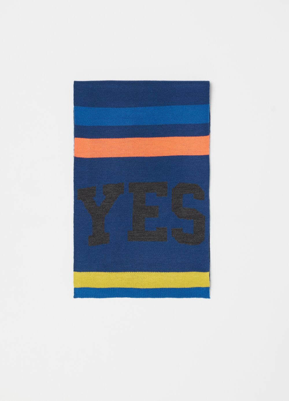 Scarf with striped pattern and print