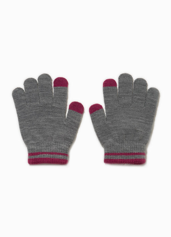 Touch-screen gloves with striped edge | OVS