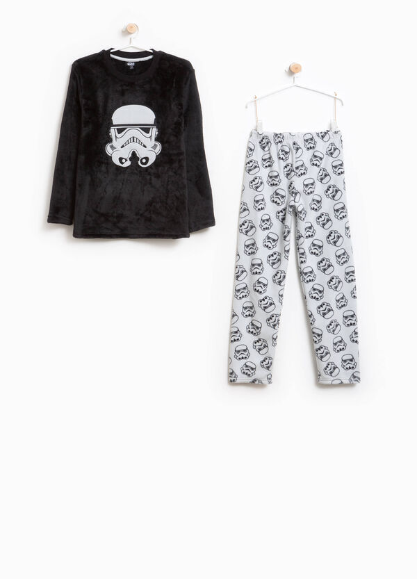 Pyjamas with pattern and Star Wars patch
