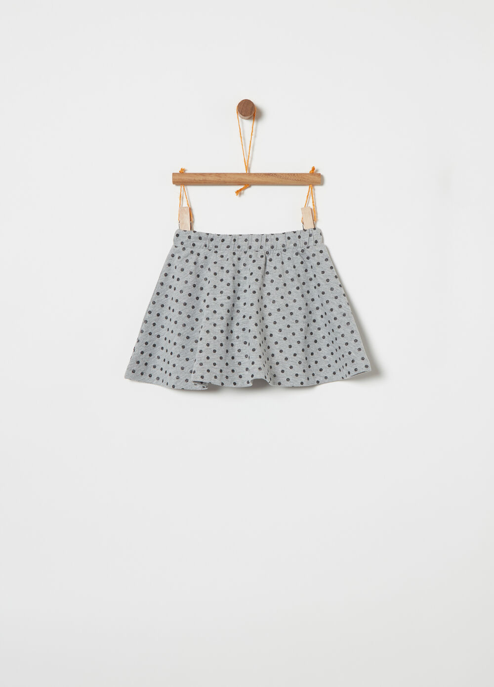 Lightweight fleece skirt with glitter polka dots