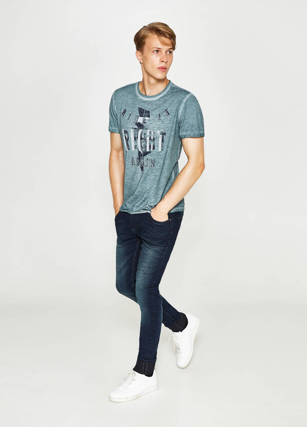 Mélange T-shirt with faded seems   OVS
