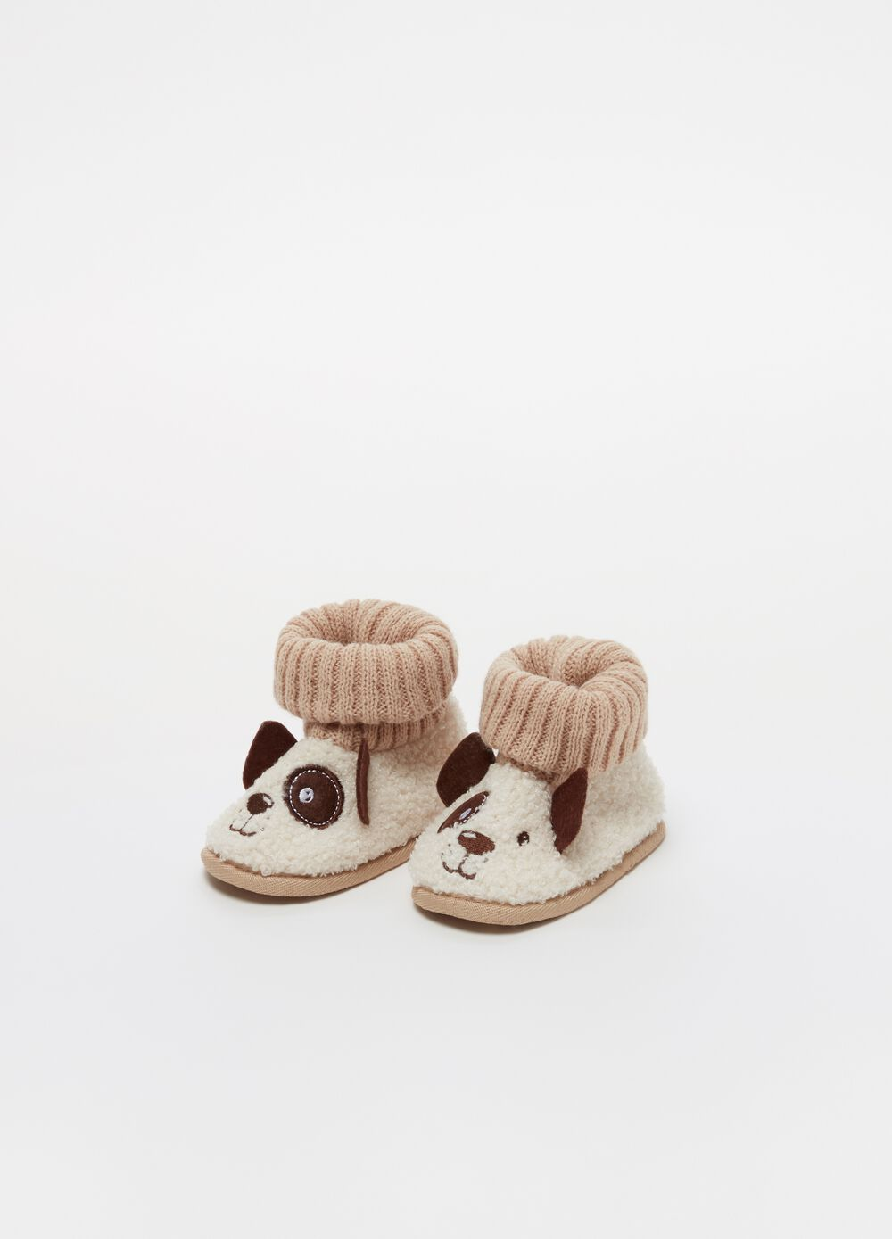 High-top slippers with puppy embroidery