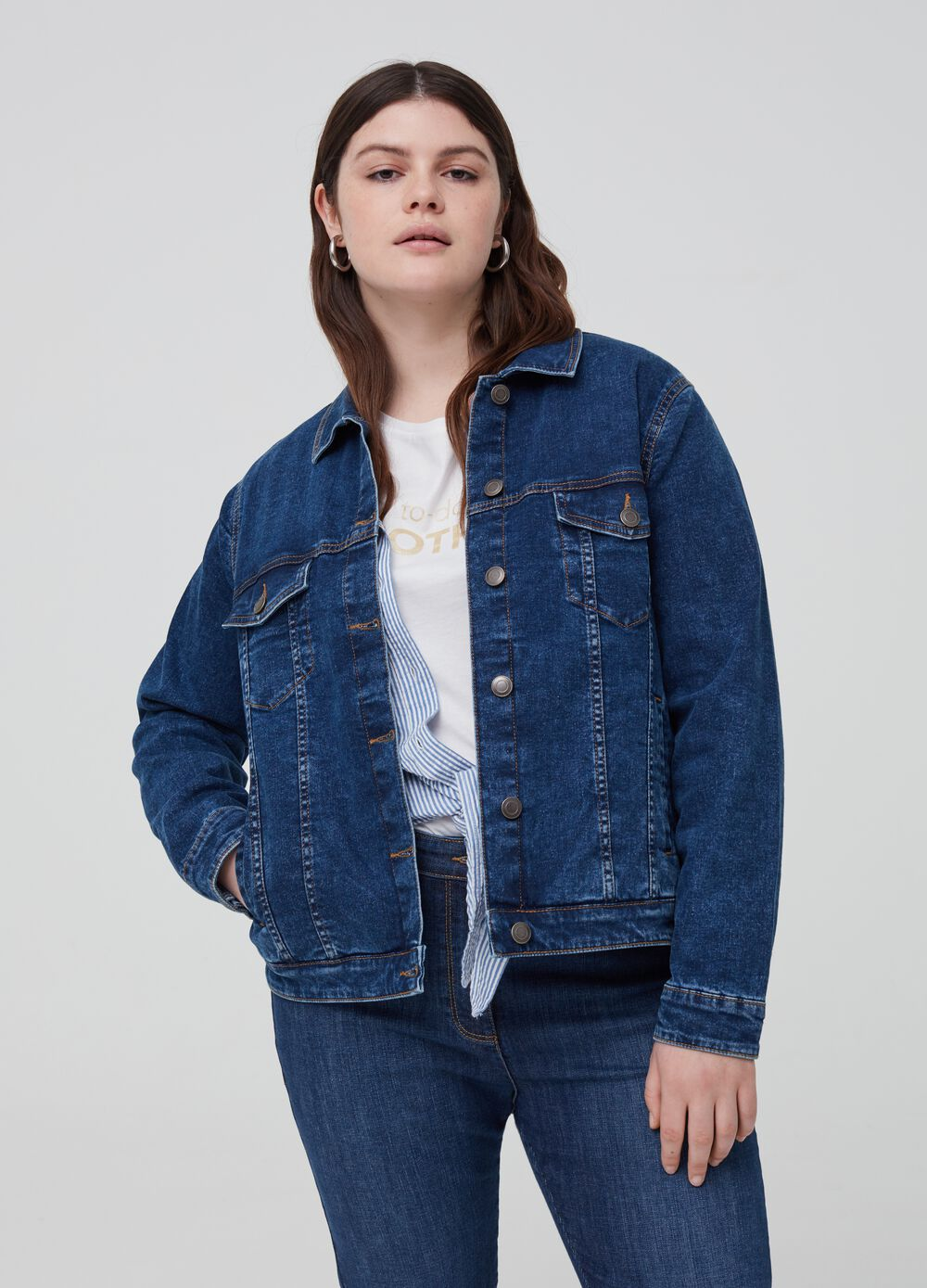 Curvy stretch denim jacket