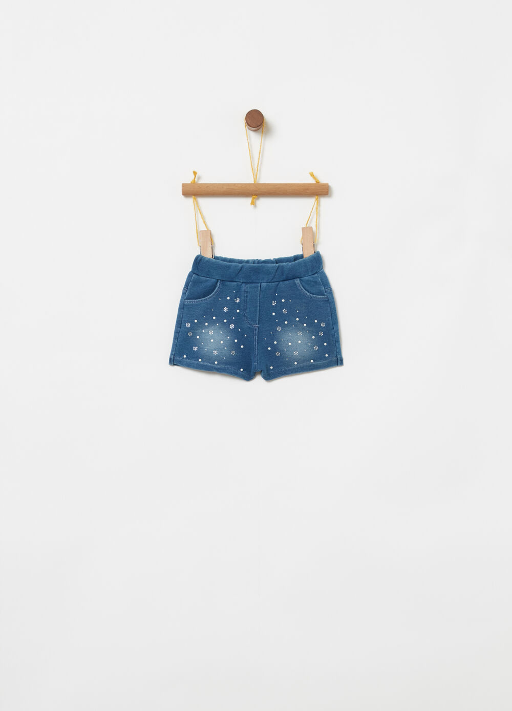 Shorts denim stretch perline e strass
