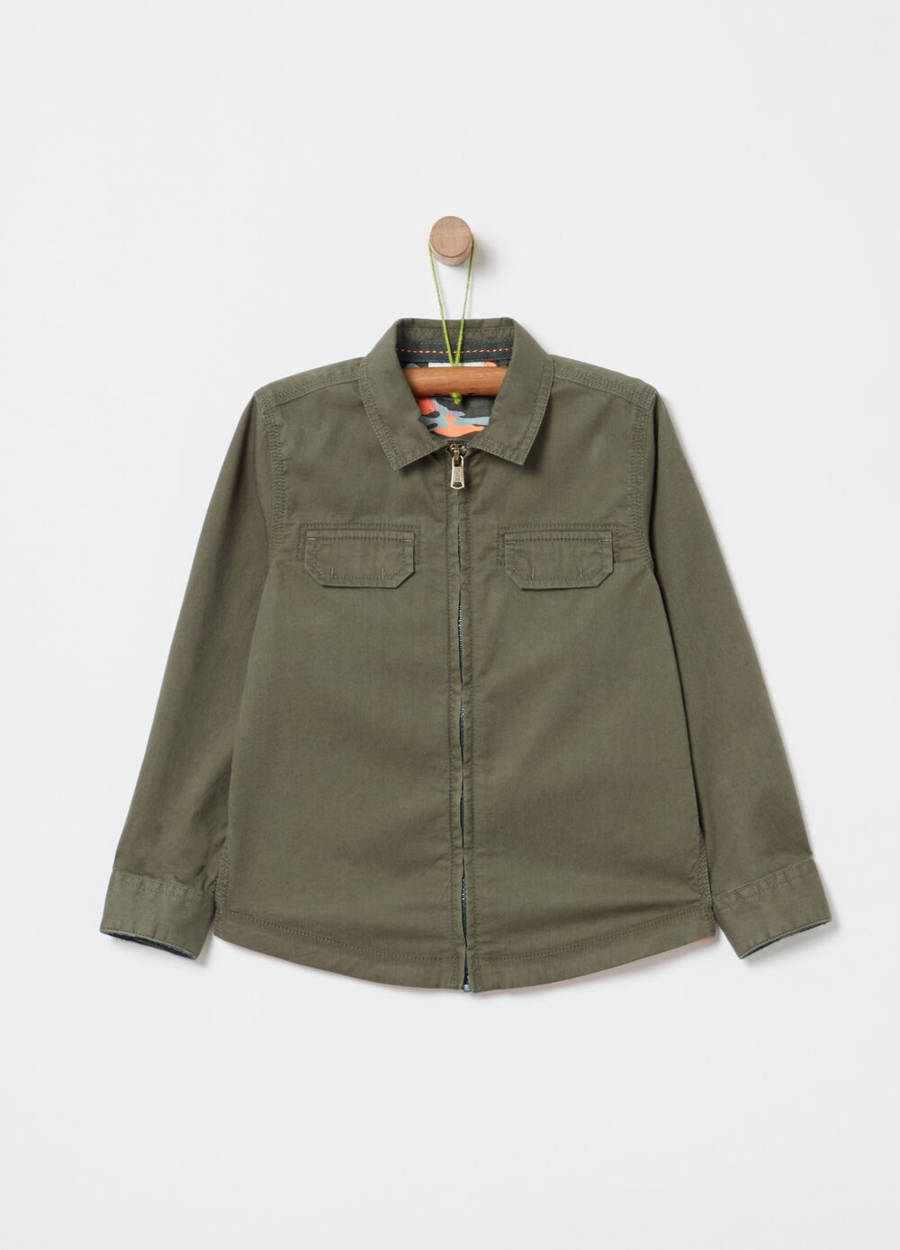 Twill shirt with zip