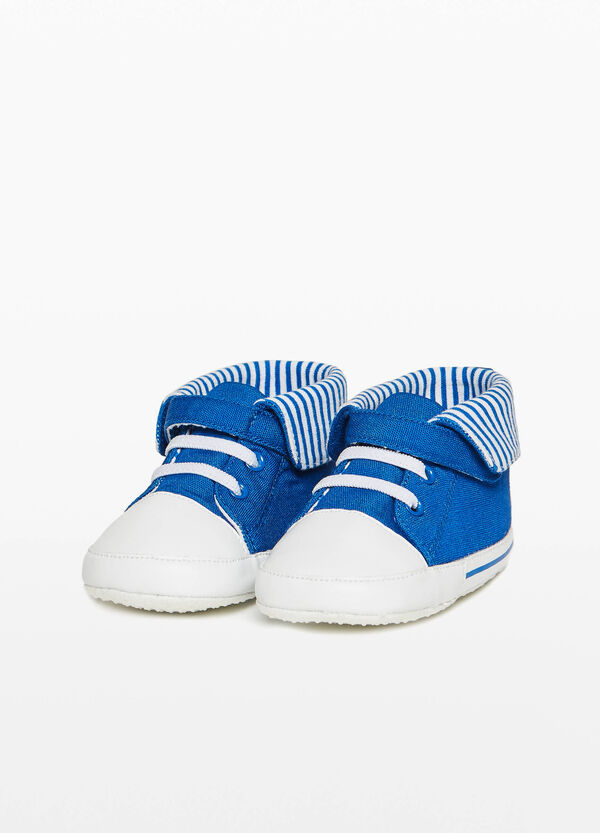 High sneakers with striped fold