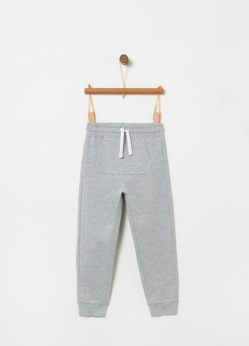 Mélange trousers with pouch pocket