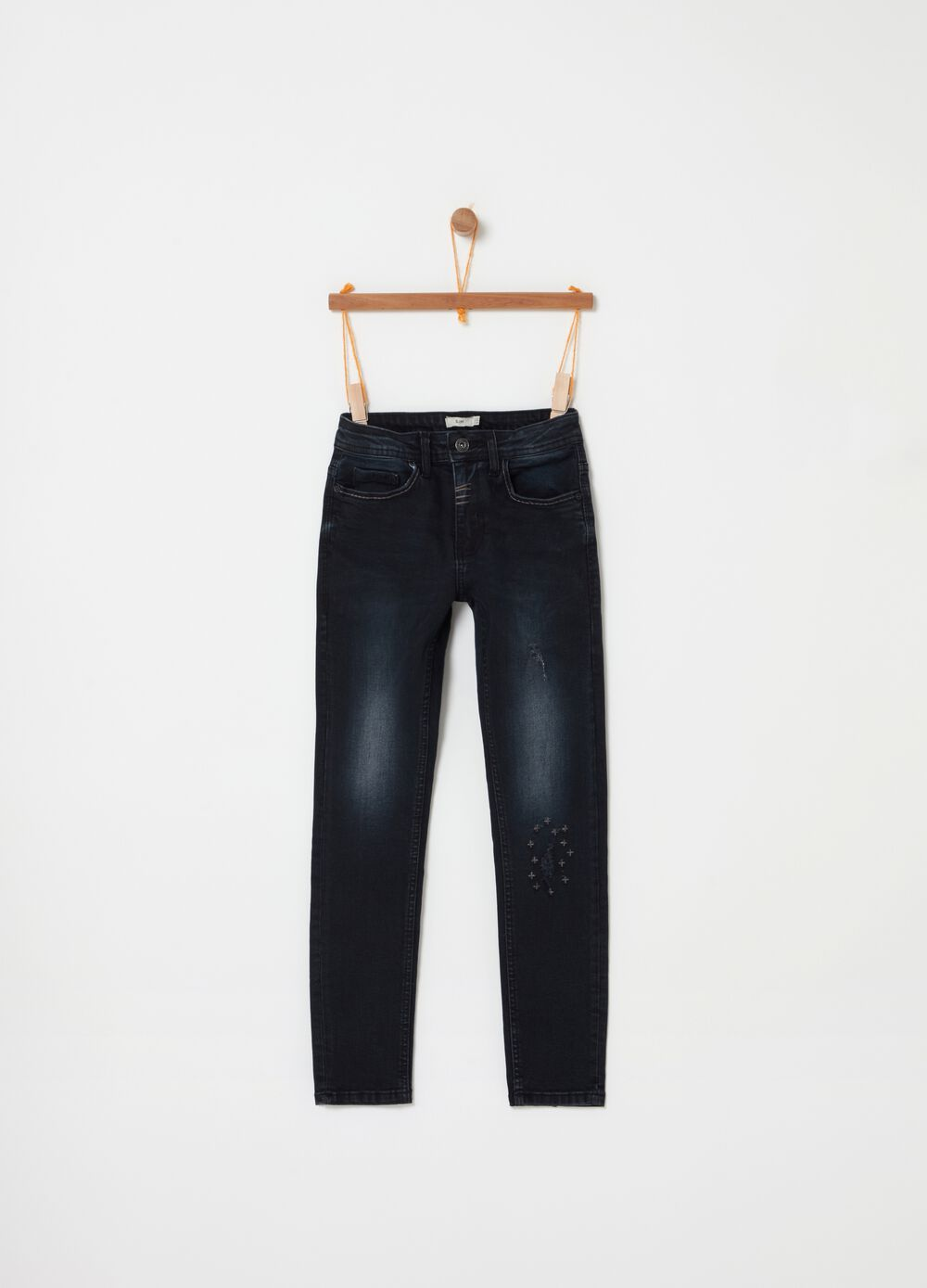 Slim-fit stretch jeans with embroidery