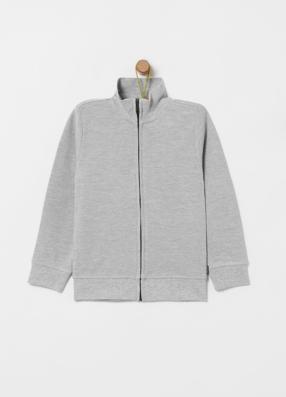 Organic cotton and viscose full-zip sweatshirt with high neck