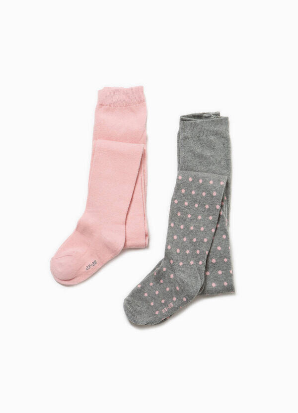 Two-pack solid colour and polka dot pattern tights | OVS