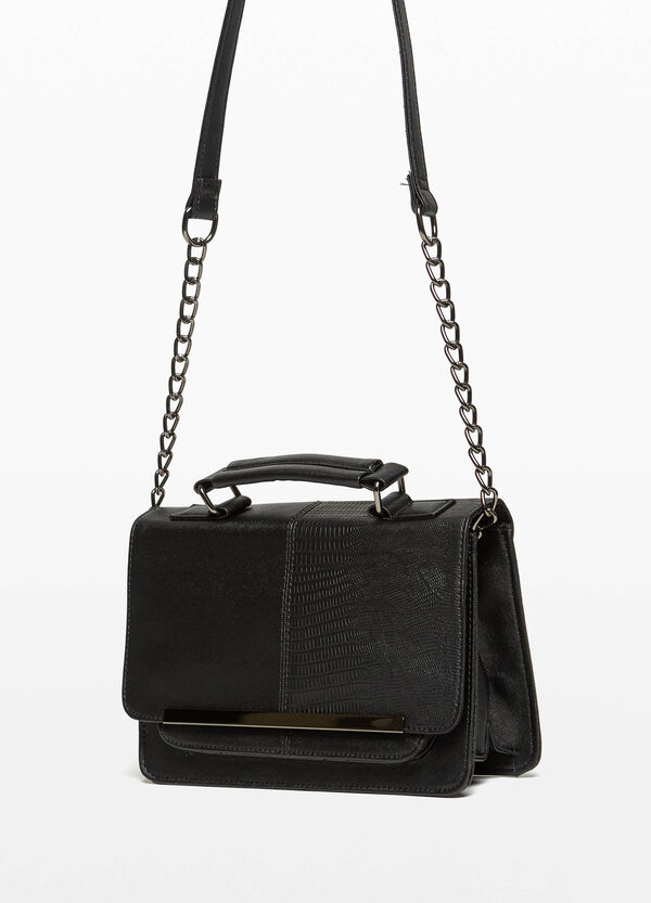 Briefcase with snakeskin and saffiano texture