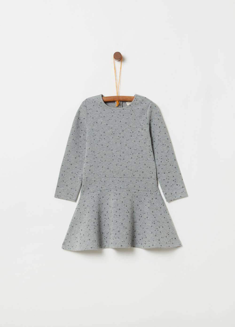 Long-sleeved dress with stars print