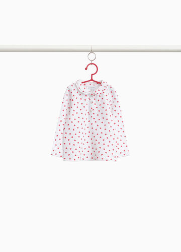Polo shirt in stretch cotton with hearts pattern