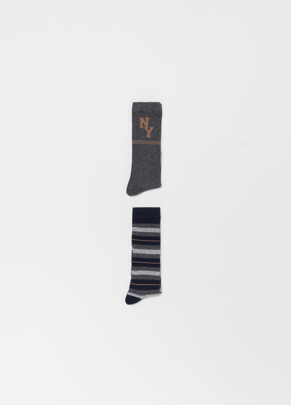 Two-pair pack long socks with print
