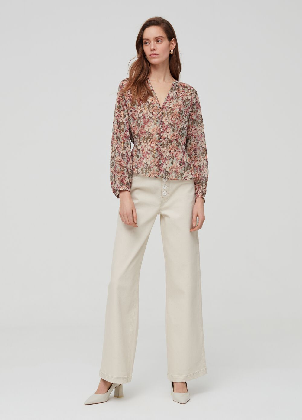 Wide-fit trousers in stretch cotton