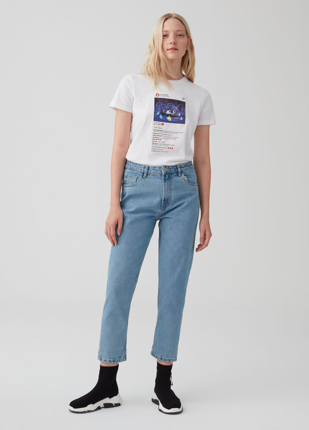 Five-pocket, mum-fit jeans