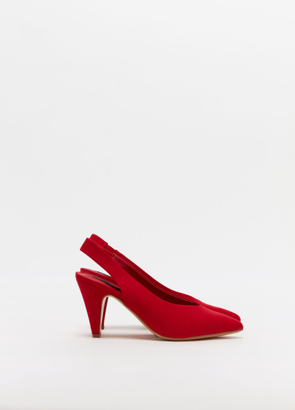 Slingback with conical heel and elastic side