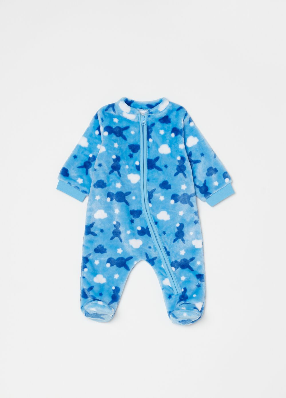 Onesie with feet and rabbit print